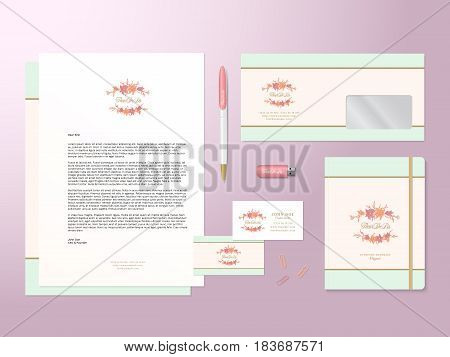 Lilies Logo Template and Realistic Vector Stationary Set with Soft Shadows. Good as Template or Mock Up for Business Identity. Pink Background.