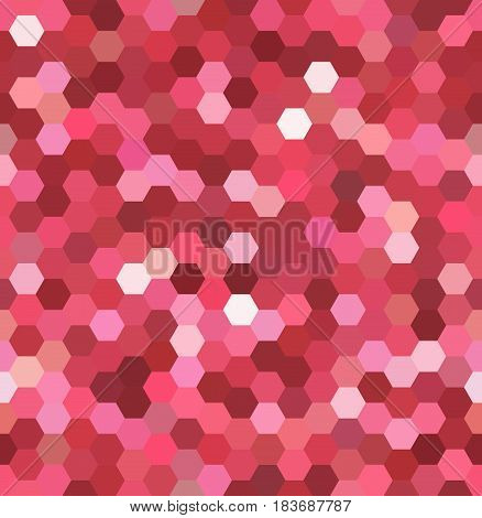 Abstract Seamless Background Consisting Of Red, Pink Hexagons. Geometric Design For Business Present
