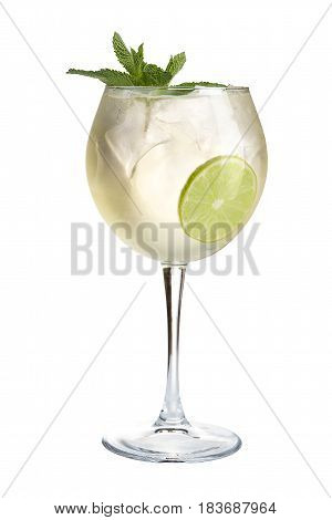 Alcoholic Cocktail With Ice. Strong Alcoholic Drink On A White Background