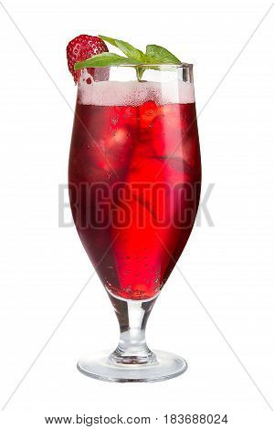 Refreshing Strawberry Cocktail. Alcohol Cocktail On White Background