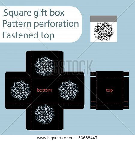 A square paper box box is fastened with a lid cut out template gift wrap laser cutting template the sides are indicated by an abstract pattern of perforations vector.
