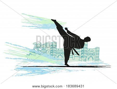 creative abstract illustration of karate fighter silhouette