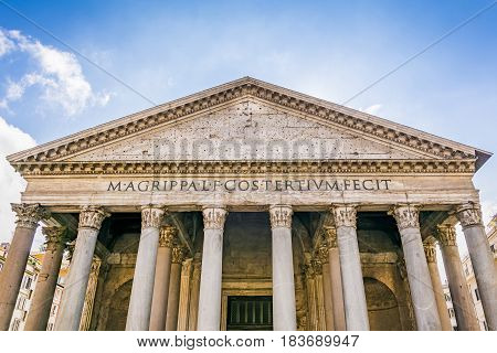 facade of the roman Pantheon in Rome