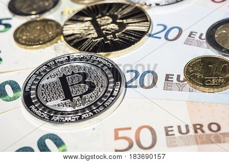 Btc Bitcoin And Euro Coins And Notes