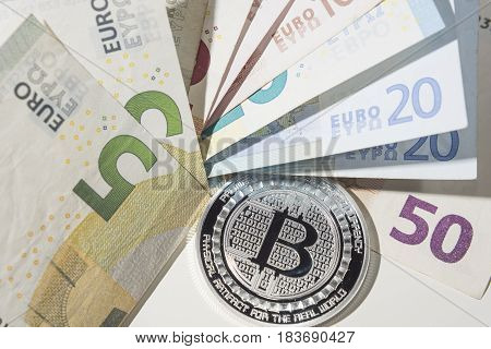 Btc Bitcoin And Euro Bank Notes
