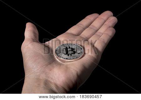 Single Btc Bitcoin Coin On Hand