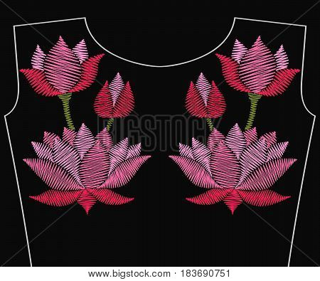 Embroidery pink lotus flower with leaves for neckline. Vector fashion embroidered floral ornament, fancywork pattern for textile, fabric traditional folk decoration. Asian wildflower.