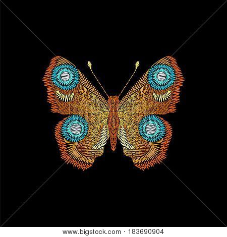 Embroidery fashion peacock butterfly. Vector insect on black background for textile, fabric traditional folk decor.