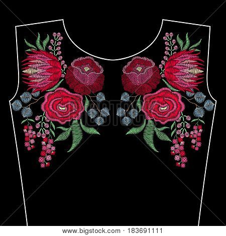Embroidery fashion neckline with spring flowers, roses, protea. Vector floral ornament on black background for textile, fabric traditional folk decor.
