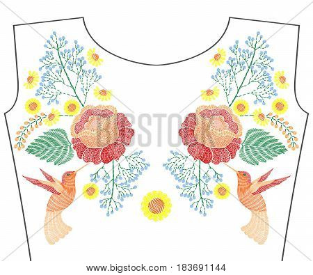 Embroidery hummingbird with rose, spring flowers, chamomile for neckline. Vector fashion embroidered floral ornament, fancywork pattern for textile, fabric traditional folk decoration.