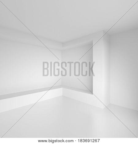 White Interior Design. Modern Architecture Background. 3d Rendering