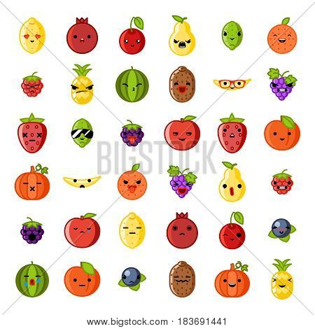 Cute emoji smile fresh fruit apple cherry watermelon kiwi strawberry lemon peach pear banana peach blueberry healthy food natural vitamins cartoon children characters flat design icons vector illustration.