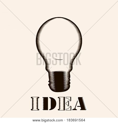 Vector light bulb icon with concept of idea. Doodle hand drawn sign. Illustration for print