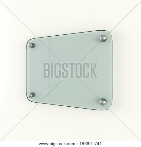 Glass plate mockup. Empty space for your content. 3D Rendering