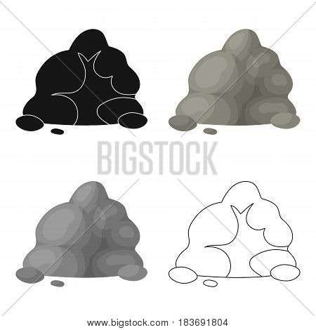 The small gray slide.A mountain that consists of a large number of small stones.Different mountains single icon in cartoon style vector symbol stock web illustration.
