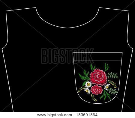 Embroidery rose, summer wildflowers for t-shirt pocket, neckline. Vector fashion embroidered floral ornament, fancywork pattern for textile, fabric traditional folk decoration.