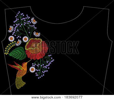 Embroidery rose with hummingbird, wildflowers, summer chamomile for neckline. Vector fashion embroidered floral ornament, fancywork pattern for textile, fabric traditional folk decoration.