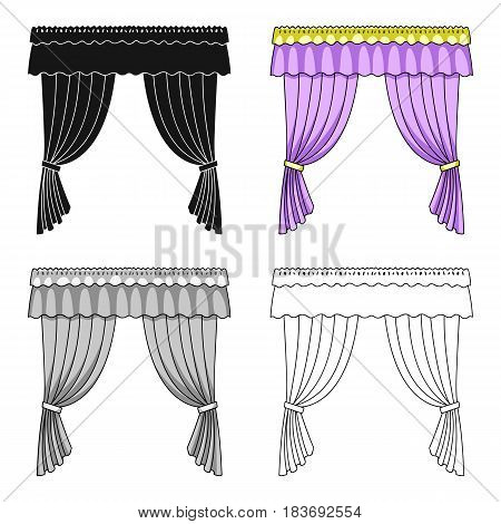 Curtains with drapery on the cornice.Curtains single icon in cartoon style vector symbol stock illustration .