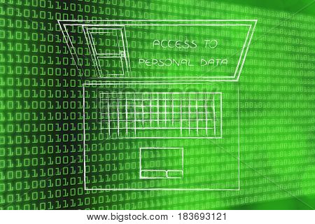 Laptop With Open Door On The Screen With Text Personal Information