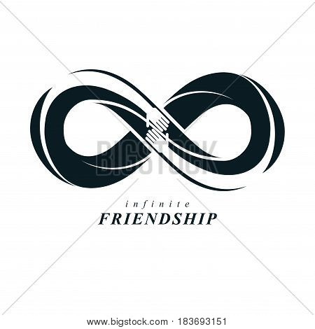 Friends Forever, Everlasting Friendship, Beautiful Vector Logo Combined With Two Symbols Of Eternity