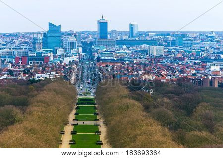 Brussels (Bruxelles) - February 2016, Belgium: Aerial panorama of Brussels city center, view on downtown