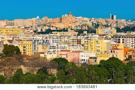 Cityscape with varicolored houses of historic center the city of Cagliari, Sardinia Island, Italy