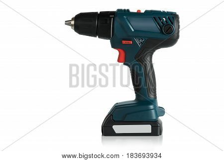 Battery drill screwdriver on white background side view