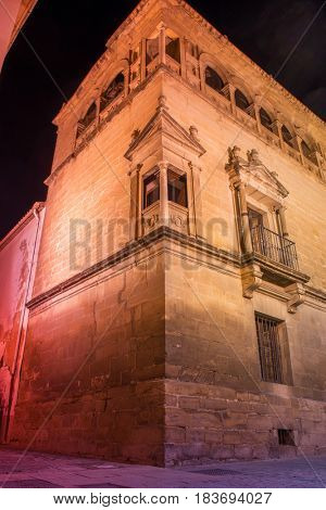 Night view of Palace Vela de los Cobos in Ubeda, Spain