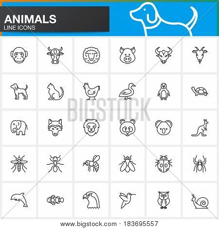 Animals line icons set outline vector symbol collection linear pictogram pack isolated on white. Signs logo illustration