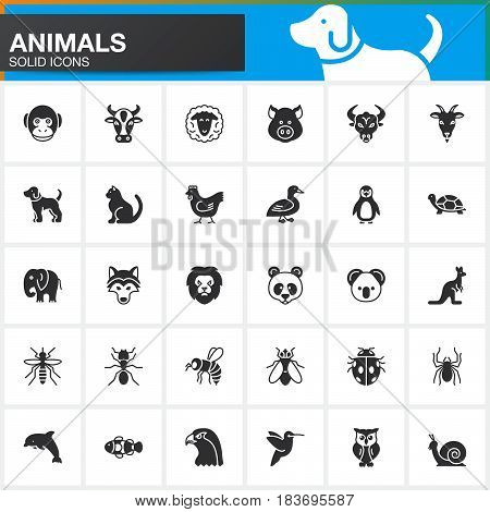 Animals vector icons set modern solid symbol collection filled pictogram pack isolated on white. Signs logo illustration