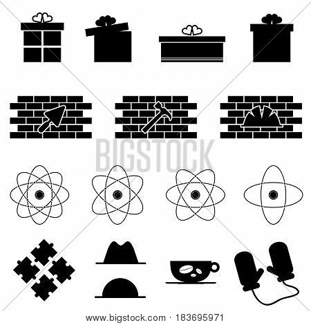 Icon Set In Variouses Poses In Black Color Illustration