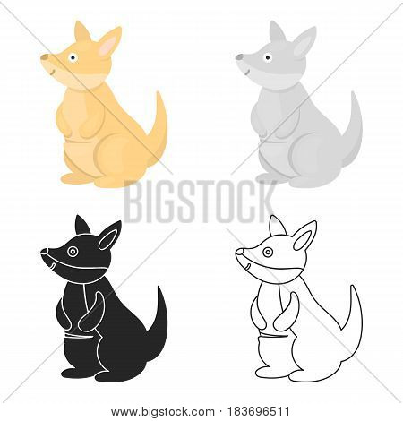 Kangaroo icon cartoon. Singe animal icon from the big animals cartoon.