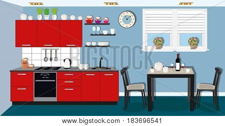 Modern cozy kitchen interior design with stove, cupboard and dishes. Dining room with table, chairs and window.  Flat style vector illustration.