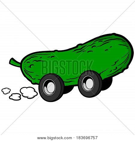 A vector illustration of a cartoon Pickle with wheels.