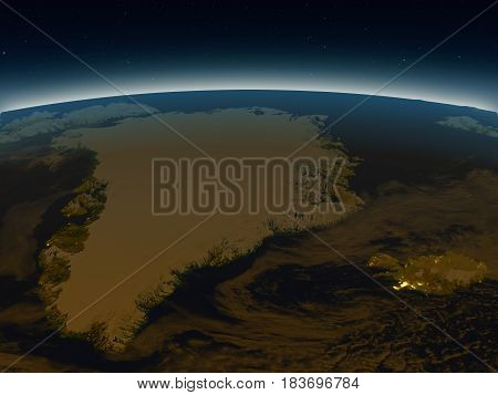 Greenland And Iceland From Space In The Evening