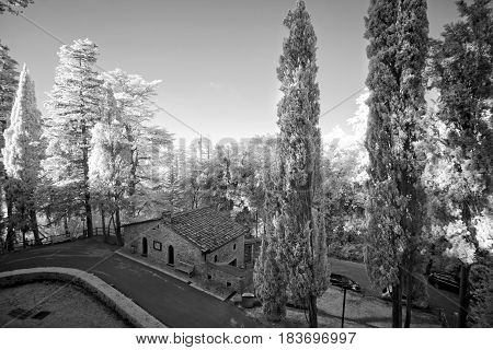 Black and white panorama of Italy. The survey was conducted in the infrared range. It turned out a classic black and white photo.
