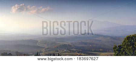 Panorama of the hills of Tuscany. Desert landscape of Tuscany