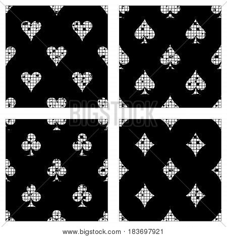 Set Of Seamless Vector Abstract Pattern Background With Icons Of Playings Cards Grunge Texture With
