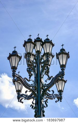 Old lamppost in front of the Cathedral of Christ the Savior in Moscow Russia