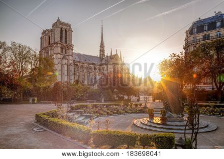 Paris, Notre Dame Cathedral Against Sunrise In France
