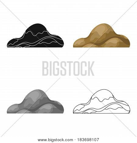 Low brown sand mountain.Different mountains single icon in cartoon style vector symbol stock web illustration.
