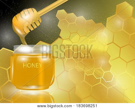 Honey Dipper and Glass Jar with Honey on Abstract Golden Bright Yellow Honeycomb Background. Vector Illustration.