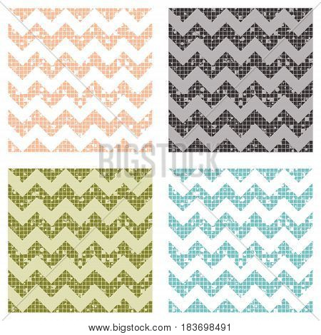 Set Of Seamless Vector Striped Patterns With Crankle. Geometric Background With Zigzag. Grunge Textu
