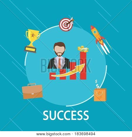 Vector flat design of a business success concept