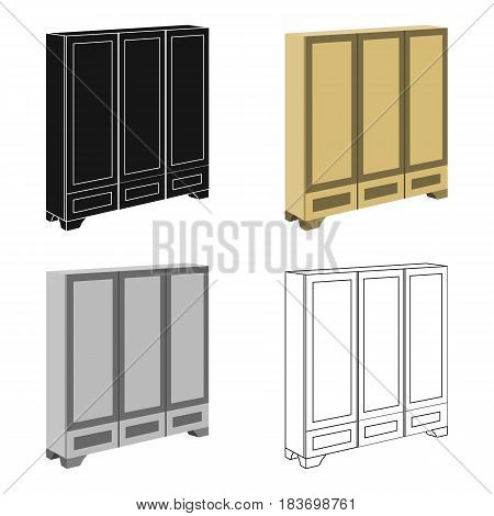 Bedroom wardrobe for clothing.Bedroom furniture for clothes.Bedroom furniture single icon in cartoon style vector symbol stock web illustration.