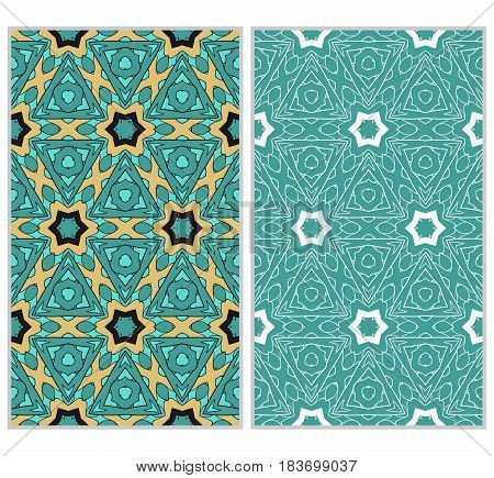 Set Of 2 Vertical Seamless Patterns. The Left Is A Colored Pattern In The Style Of A Kaleidoscope Mo