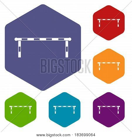 Striped barrier icons set hexagon isolated vector illustration