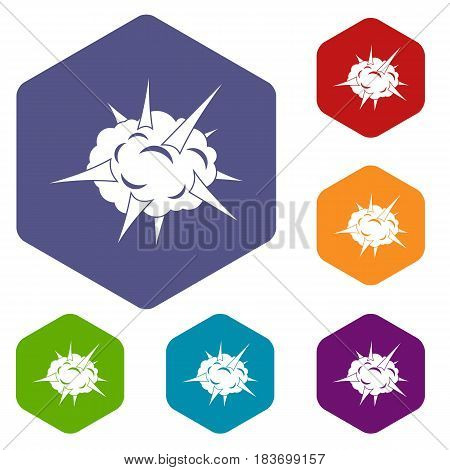 Power explosion icons set hexagon isolated vector illustration