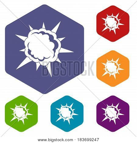 Powerful explosion icons set hexagon isolated vector illustration