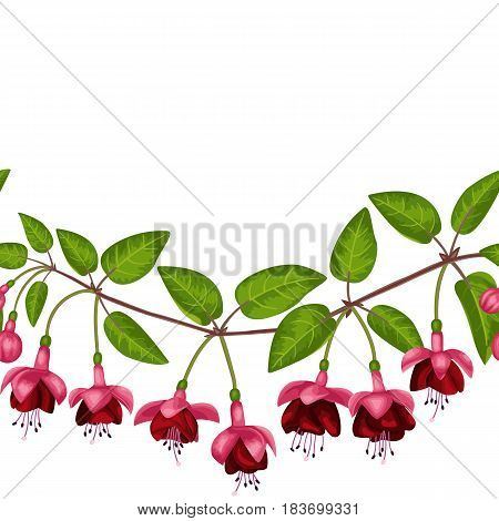 Pink fuchsia seamless border on white background. Template for postcards, greeting cards, wedding invitations. Vintage floral wallpaper.